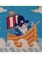 Poypoy Poypoy Masal Korsan Deniz Mavi Çocuk Halısı 100x160 cm Mavi